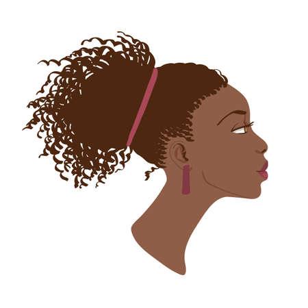 Illustration pour Vector portrait of beautiful African American women  Side view - image libre de droit