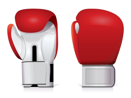 Pair of shiny, red and white boxing gloves.