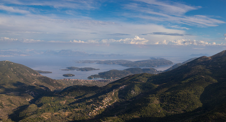 Photo for Wide panorama of classic Greek sea view from the mountain, summer, Lefkada island, Greece. Original image is 20500x11000 px in tiff and dng format - Royalty Free Image