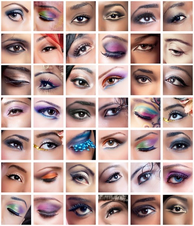 Collage of 42 eyes closeup images of women of different ethnicities (african, asian/indian, caucasian) with creative colorful makeups