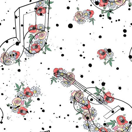Ilustración de Vector seamless pattern graphic illustration of guitar music notes, flowers leaves branch drip blot splotch ink, splodge, spray Sketch drawing doodle style Artistic abstract watercolor silhouette - Imagen libre de derechos