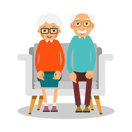 Illustration for Old people sitting. On the sofa sit elderly woman and man. Family portrait of elderly people. Married couple of pensioners at home on vacation. Illustration in flat style. Isolated.  - Royalty Free Image