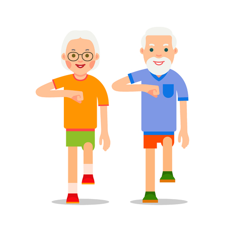 Ilustración de Old people and sport walking. Grandparents perform health gymnastics. Senior people doing physical activity. Adults making physical exercises. Cartoon illustration isolated on white background in flat style. - Imagen libre de derechos