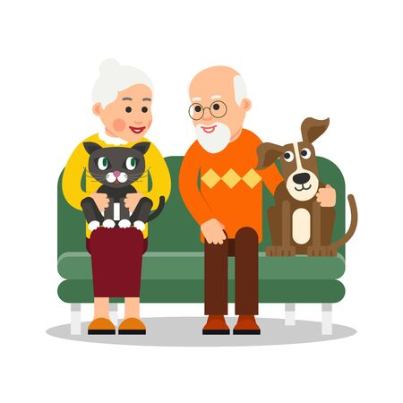 Illustrazione per Old people with animal. Elderly couple are sitting on couch and smiling with love. Next to grandfather is dog, cat is on lap of grandmother. Illustration isolated in flat style.  - Immagini Royalty Free