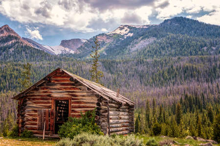 Photo for Old abandoned cabin in the Wind River Mountain Range, Wyoming - Royalty Free Image