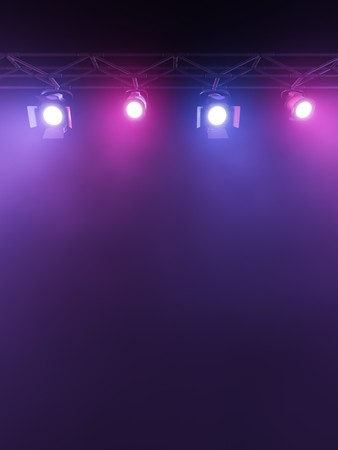 A Stage Light Rack with 3 Colored Spotlights Shining down towards the middle of the layout in a dark area.