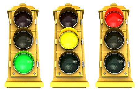 Three vintage downtown traffic light on white background showing Green, Yellow & Red.