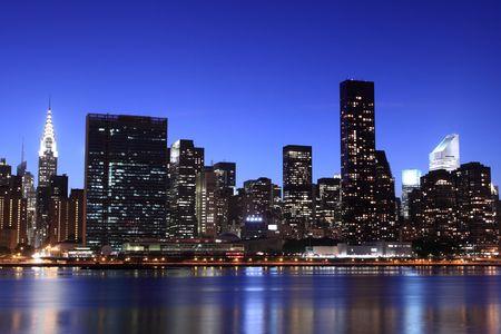 Photo for New York City skyline at Night Lights, Midtown Manhattan  - Royalty Free Image