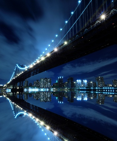 Photo for Manhattan Bridge and Manhattan skyline At Night Lights, New York City  - Royalty Free Image