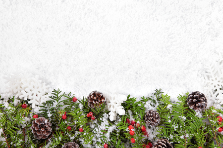 Photo for Christmas border with decorations on the snow. Space for copy. - Royalty Free Image