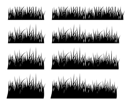 Illustration pour Set of black silhouette grass in different height,vector - image libre de droit
