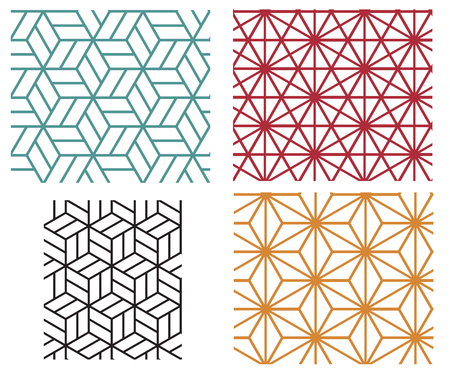Illustration for Collection of four color star and cube in geometric line style vector patterns - Royalty Free Image