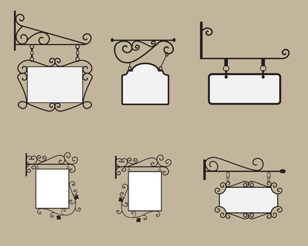 Illustration pour Hanging sign and Banner with black curved steel border and square canvas in europe style - image libre de droit