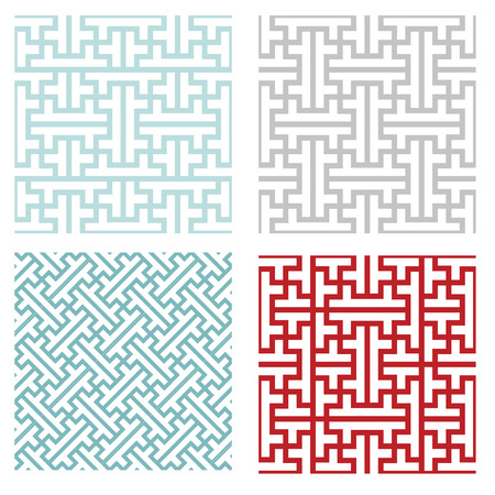 Illustration for Seamless vintage geometric puzzle pattern, vector - Royalty Free Image