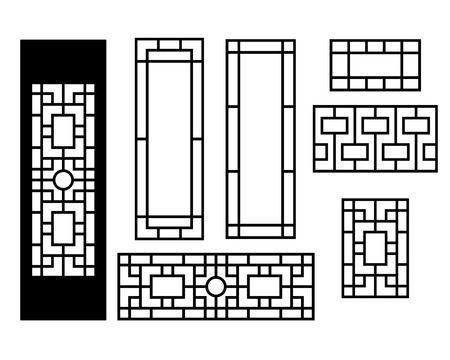 Illustration pour Chinese ornament for door, window, wall and fence, vector - image libre de droit