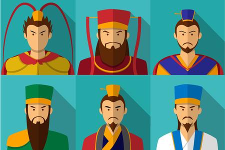 Ilustración de Set of Three kingdom character portrait in flat, vector - Imagen libre de derechos