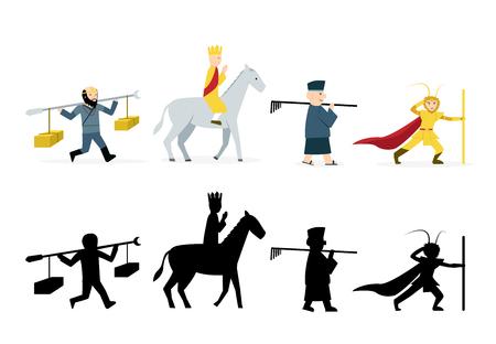 Ilustración de Journey to the West characters in flat on white background - Imagen libre de derechos