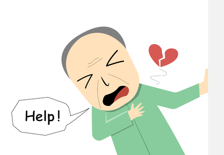 Illustrazione per Old Man suffering from heart attack in vector art design - Immagini Royalty Free