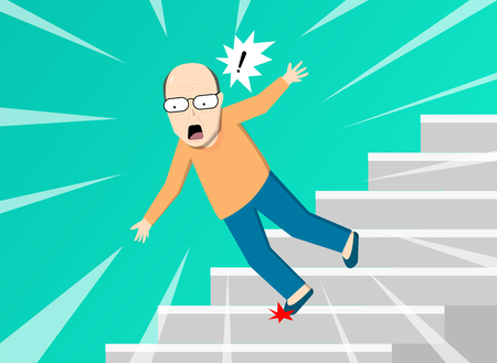 Illustrazione per Old man falling from staircase, vector art design - Immagini Royalty Free