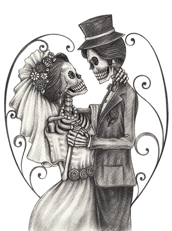 Photo pour Skull art wedding day of the dead festival.Hand pencil drawing on paper. - image libre de droit