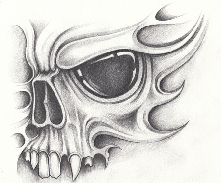 Photo pour Art skull surreal tattoo.Hand pencil drawing on paper. - image libre de droit