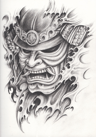 Photo pour Samurai warrior tattoo design.Hand pencil drawing on paper. - image libre de droit