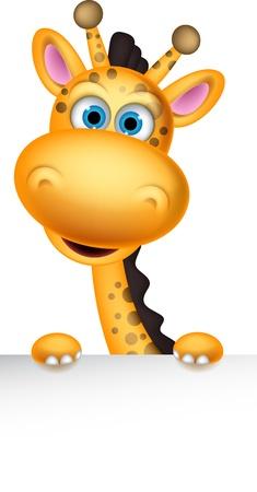 Ilustración de cute giraffe cartoon with blank sign - Imagen libre de derechos