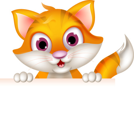 Illustration for cute cat cartoon holding blank sign - Royalty Free Image