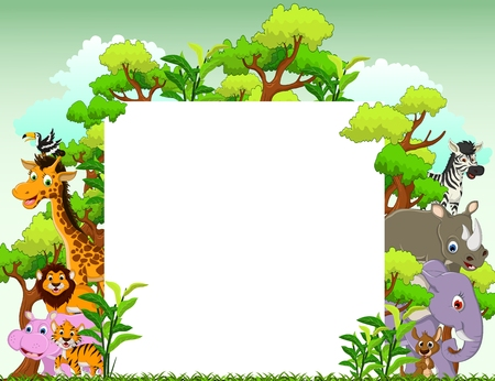 Photo pour cute animal cartoon with blank sign and tropical forest background - image libre de droit