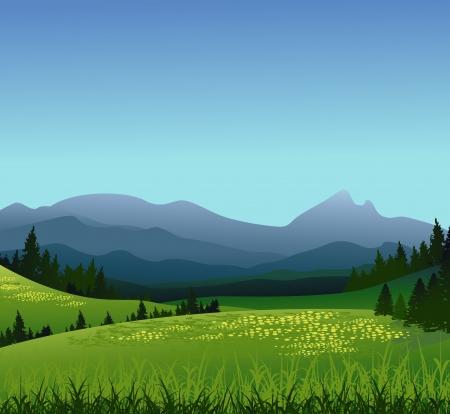 Ilustración de beauty landscape with pine forest and mountain background - Imagen libre de derechos