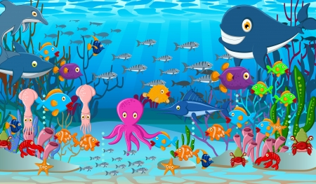Illustration for illustration of Sea life cartoon background - Royalty Free Image