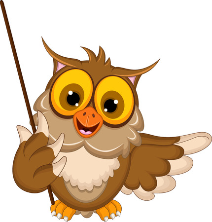 Photo for cute owl cartoon holding blank stick - Royalty Free Image