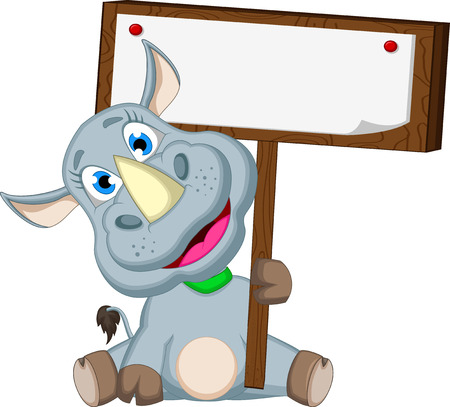 Illustration for funny rhino cartoon with blank sign - Royalty Free Image