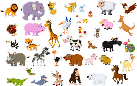 Illustration pour big animal cartoon collection - image libre de droit