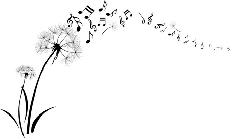 Illustration for dandelions with note music flying on white background  - Royalty Free Image