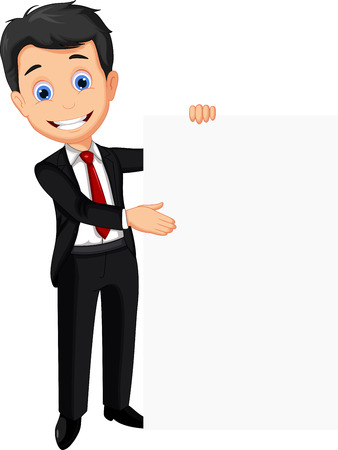 Illustration for business man holding blank sign - Royalty Free Image