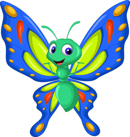 Illustration for butterfly cartoon flying - Royalty Free Image