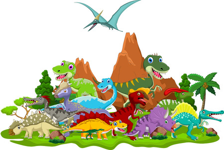 Ilustración de Dinosaur cartoon with landscape background - Imagen libre de derechos