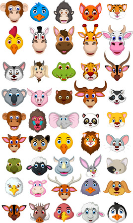 Illustration pour super big animal head cartoon collection - image libre de droit