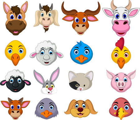 Photo pour farm animal head cartoon collection - image libre de droit
