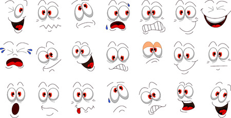 Ilustración de Cartoon face emotions set for you design - Imagen libre de derechos