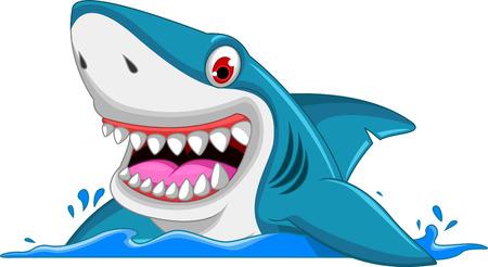 Ilustración de angry shark cartoon - Imagen libre de derechos