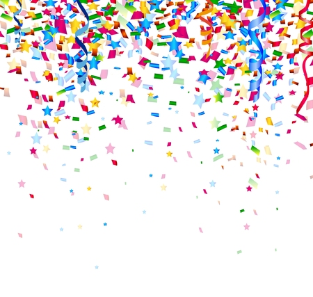 Illustration for colorful confetti on white background - Royalty Free Image