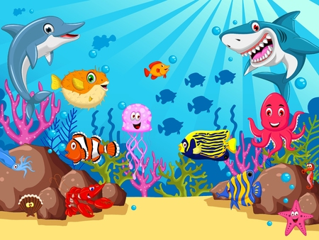 funny sea animals cartoon set