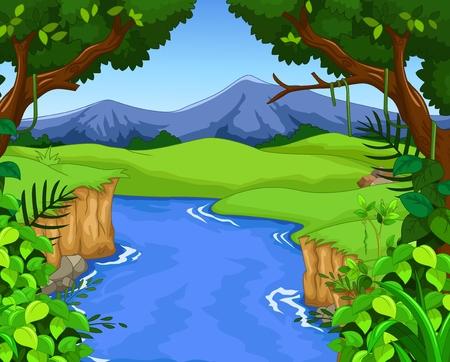 Ilustración de green forest with river for you design - Imagen libre de derechos