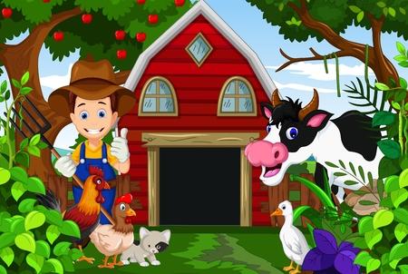 farmer at his farm with a bunch of farm animals