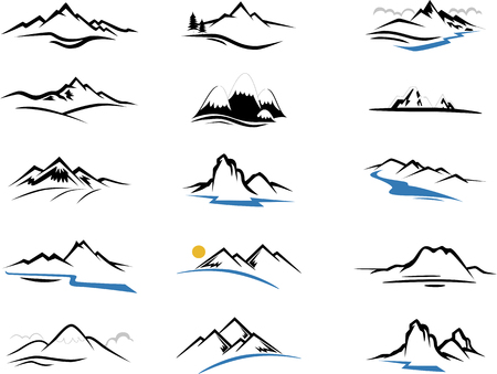 Illustration pour Mountains Icons cartoon for you design - image libre de droit