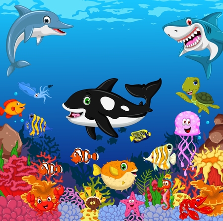 Ilustración de funny fish cartoon with sea life background - Imagen libre de derechos