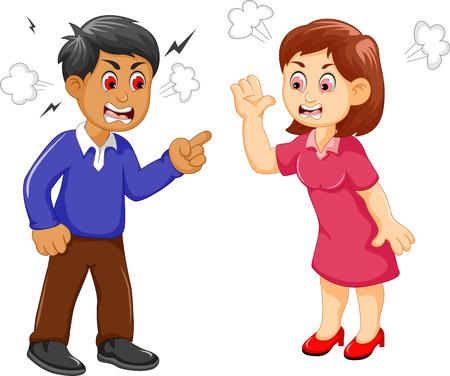 Ilustración de cartoon father and mother arguing - Imagen libre de derechos
