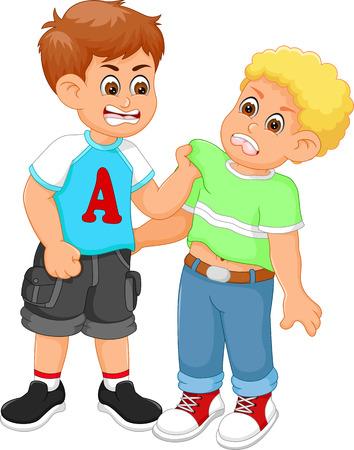 Illustration for Boys fighting cartoon - Royalty Free Image